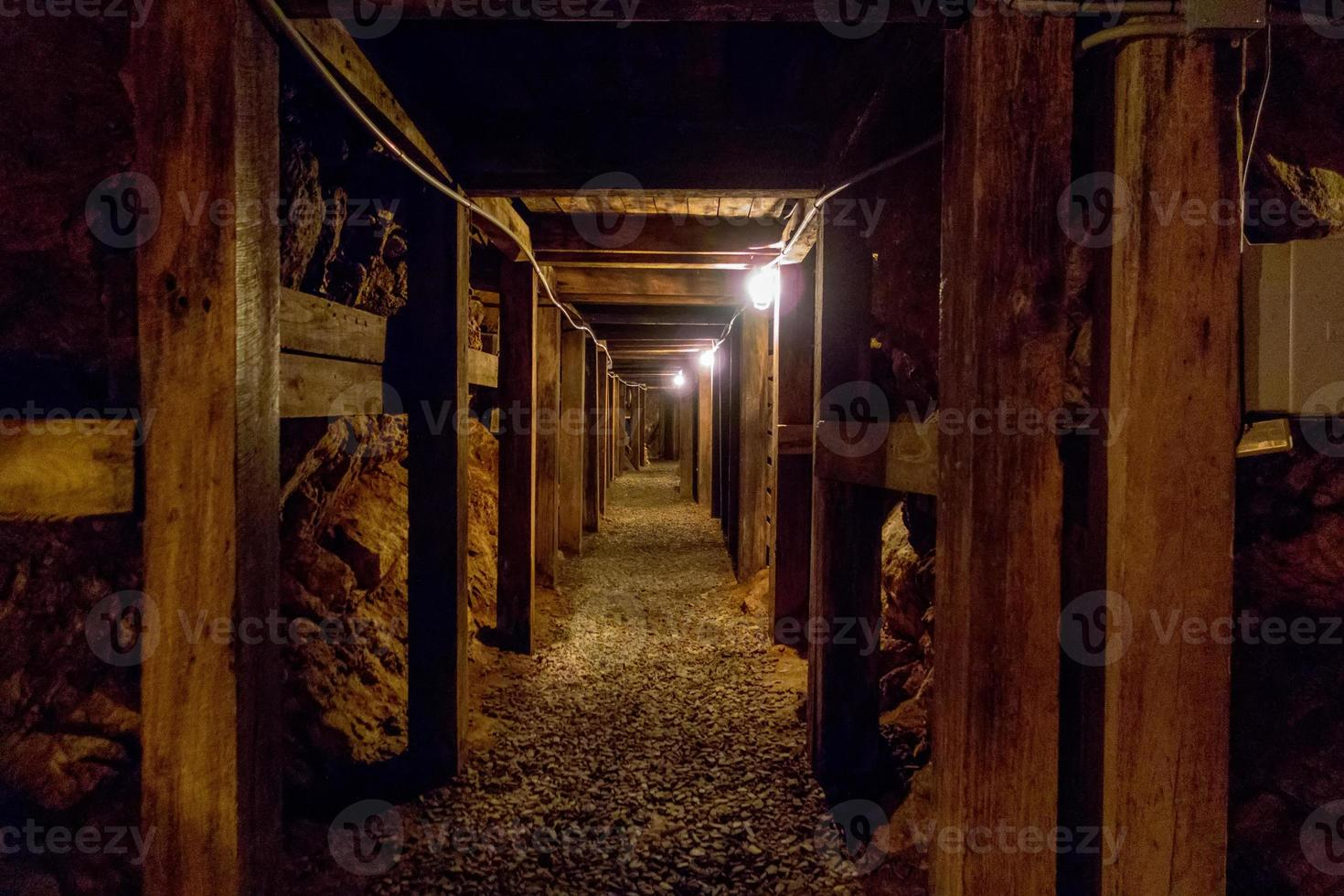 undergroung mine passage in the mountains photo
