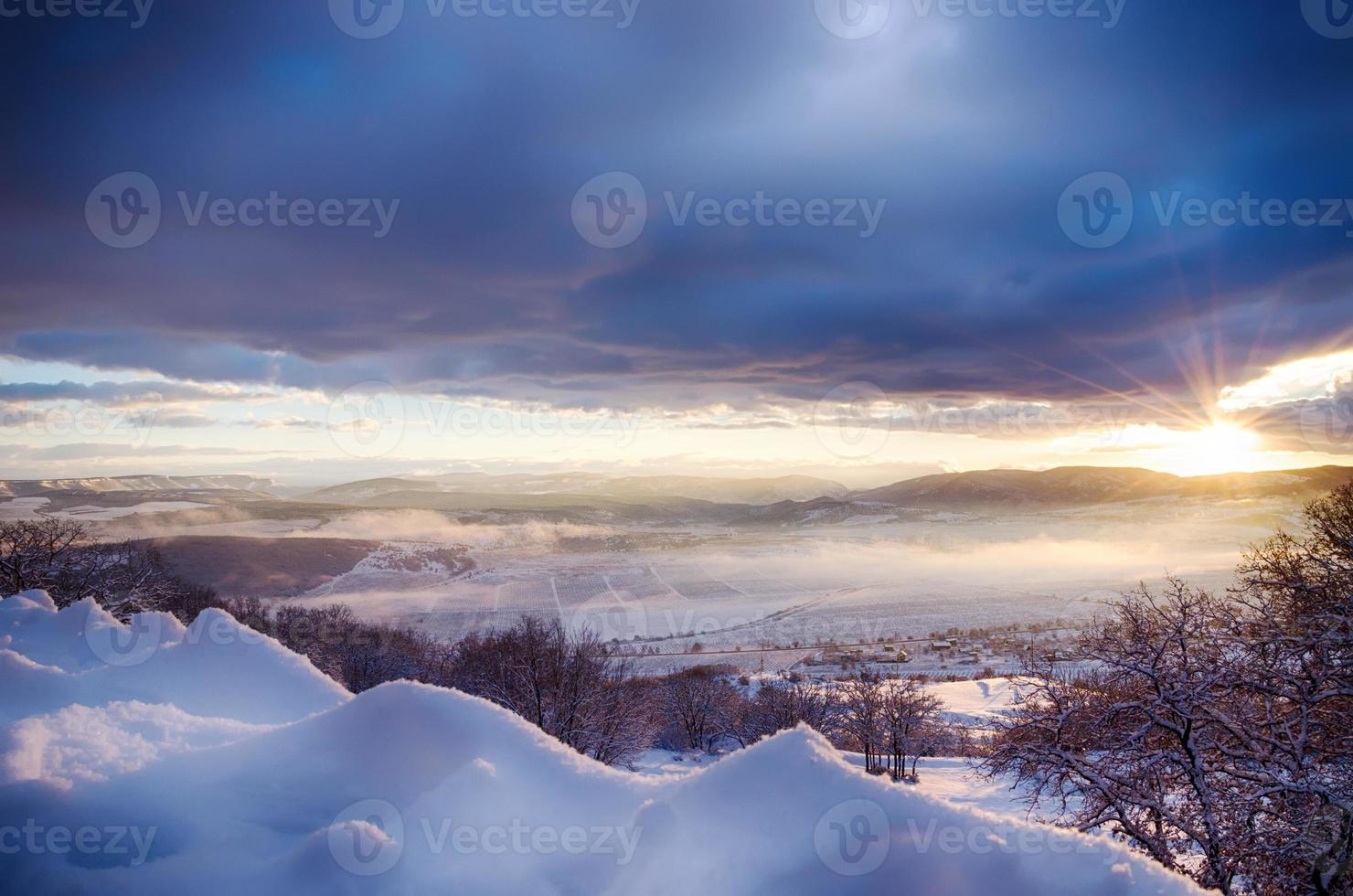 beautiful view of the snow-covered mountains photo