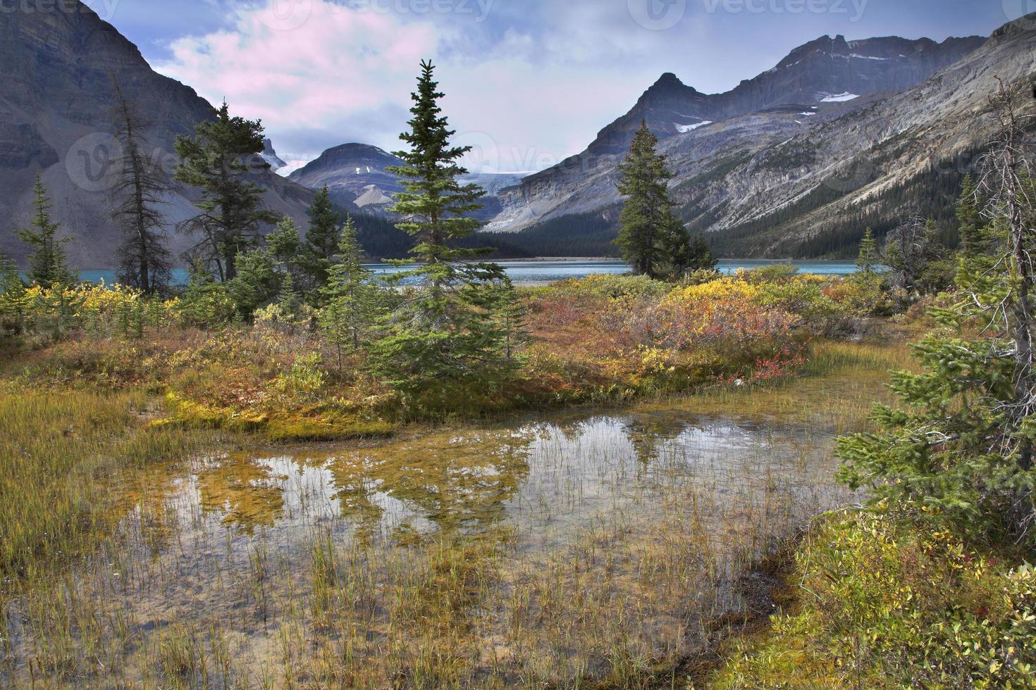 Turquoise lake and orange grass. photo