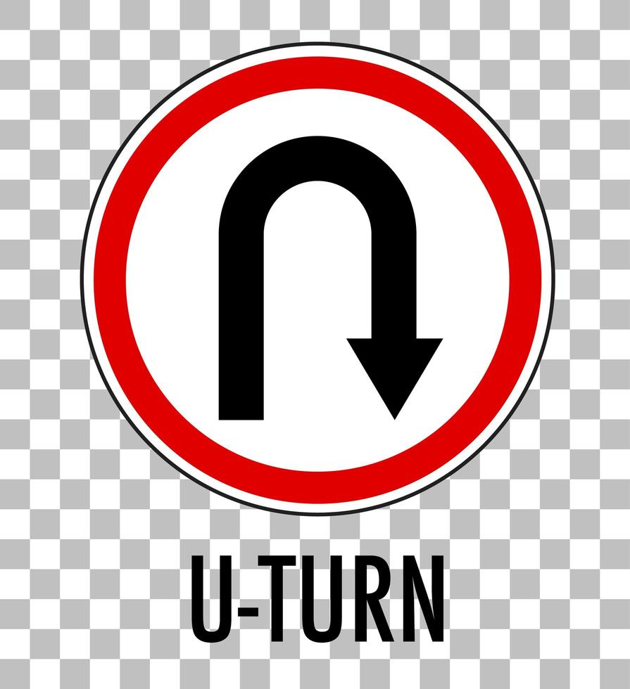 U-turn sign isolated on transparent background vector