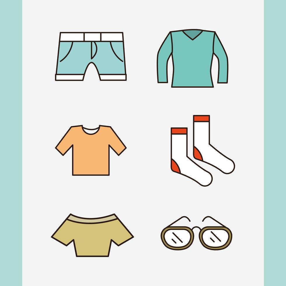 ropa y accesorios unisex simple conjunto de iconos vector