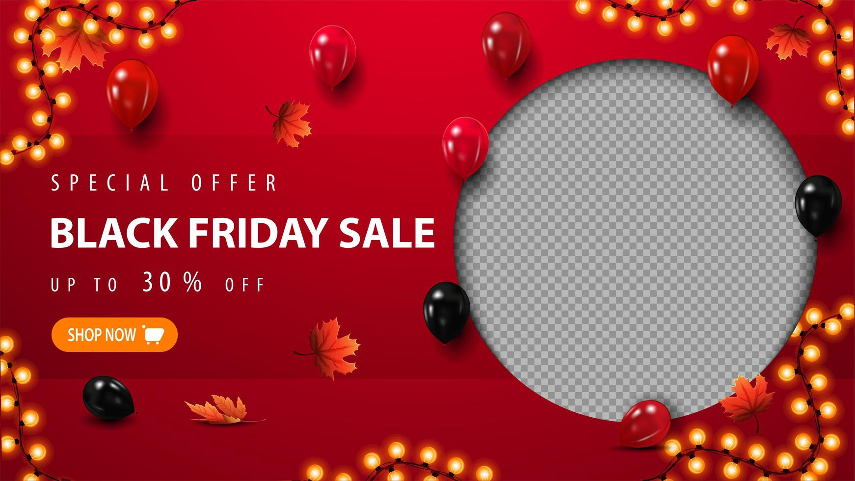 Special offer, Black Friday Sale template with balloons vector