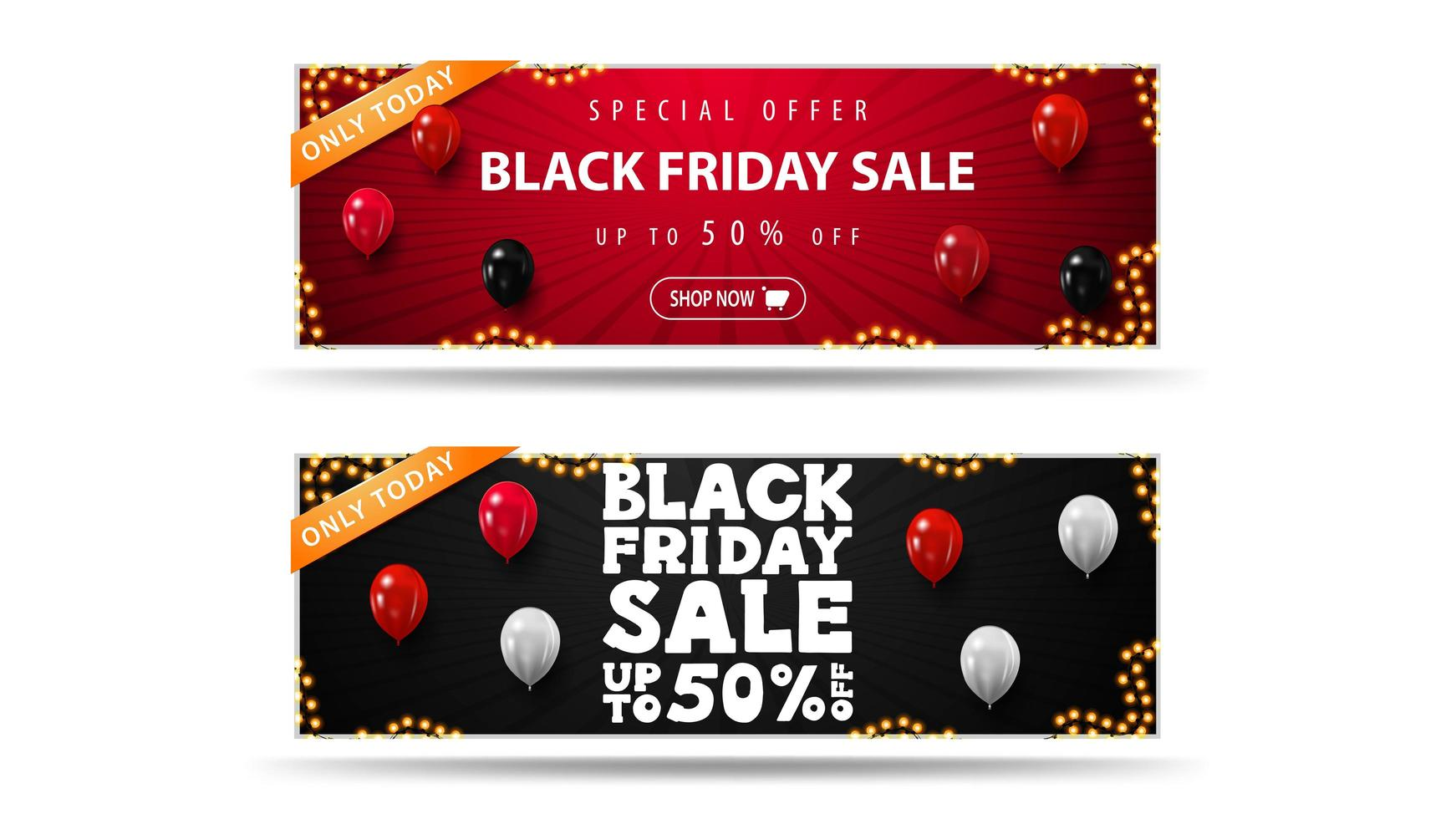 Only today, Black Friday Sale discount banners vector