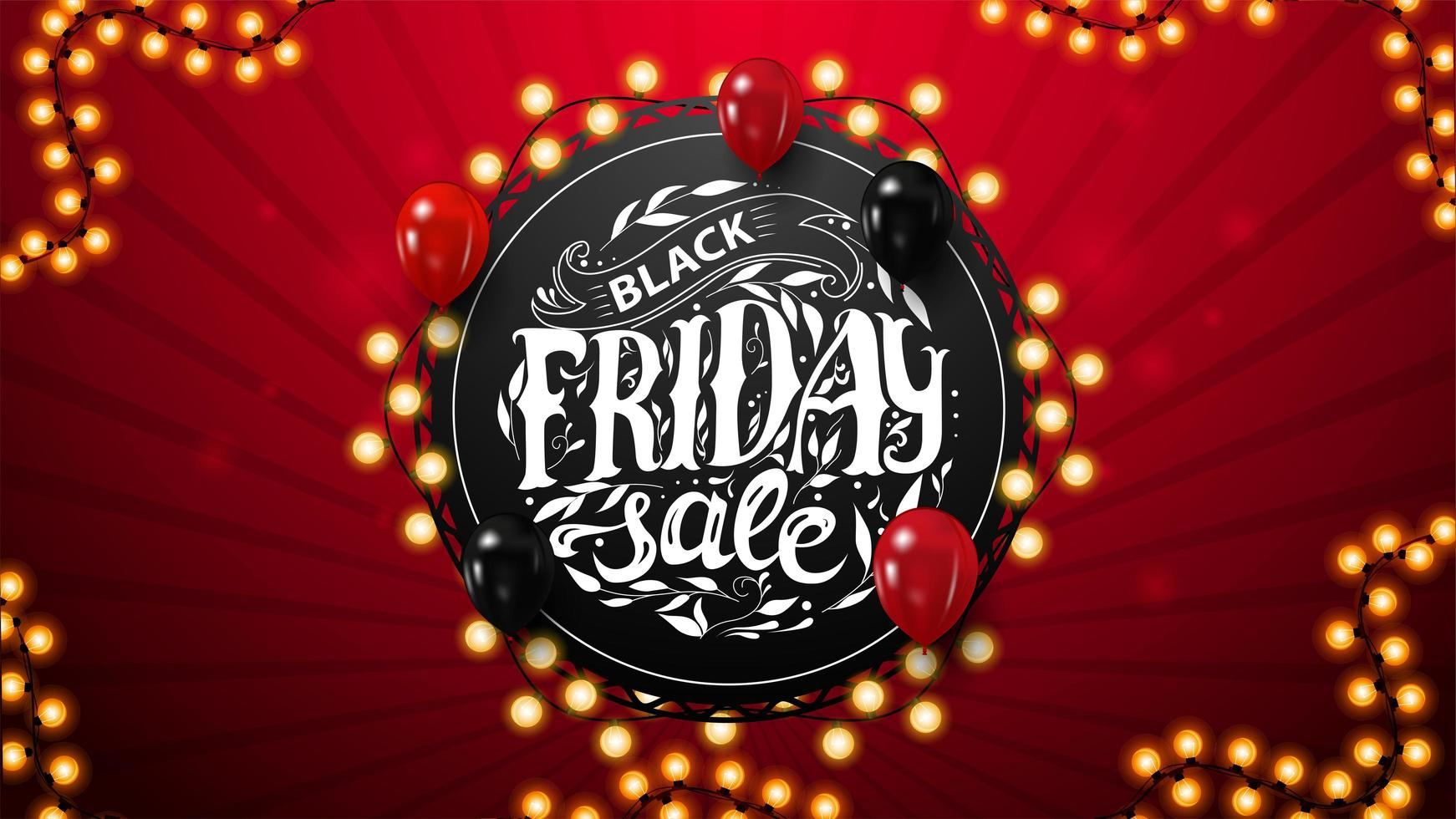 Black Friday Sale, discount coupon with round lettering vector