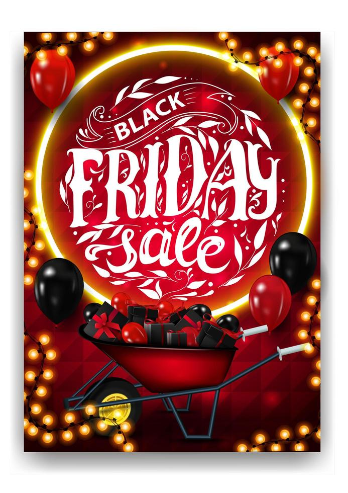 Black Friday Sale, red vertical discount poster vector