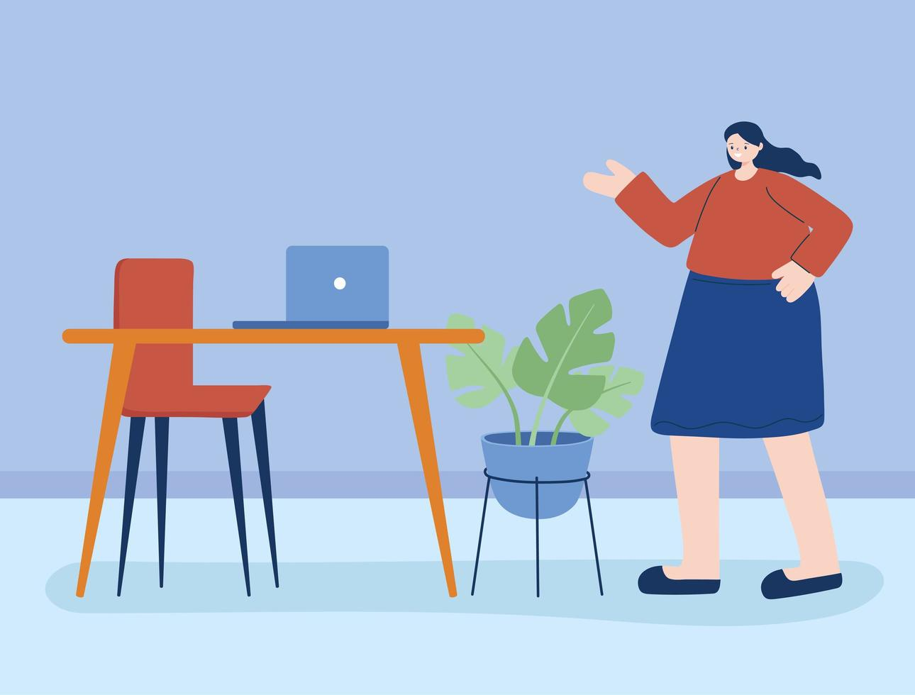 Woman with laptop on the desk vector