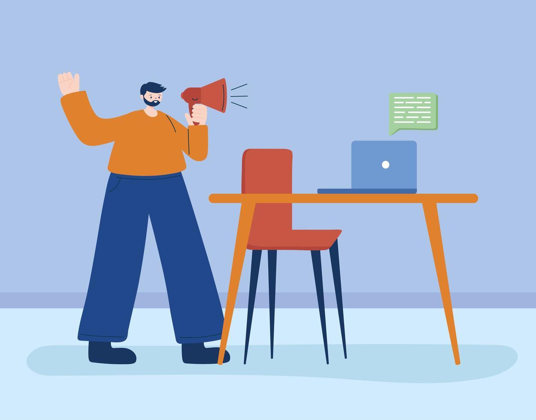 hombre con laptop y megáfono vector