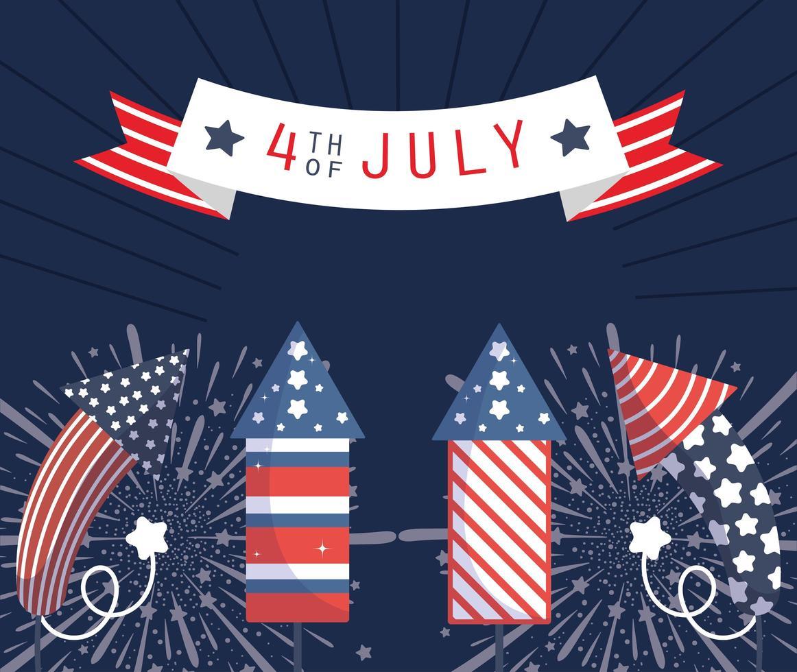Banner de celebración del 4 de julio con fuegos artificiales. vector