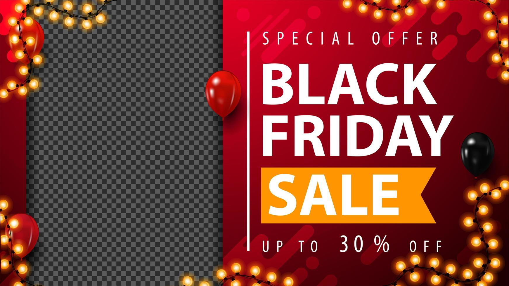 Black Friday Sale, red discount banner vector