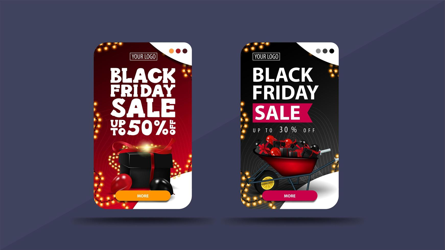 Set of vertical discount banners for Black Friday vector