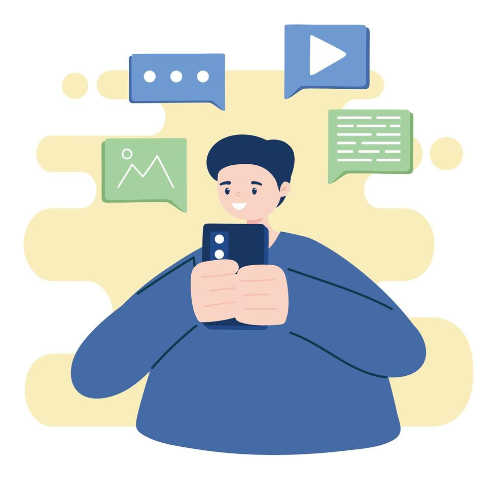 Young man using a smartphone vector