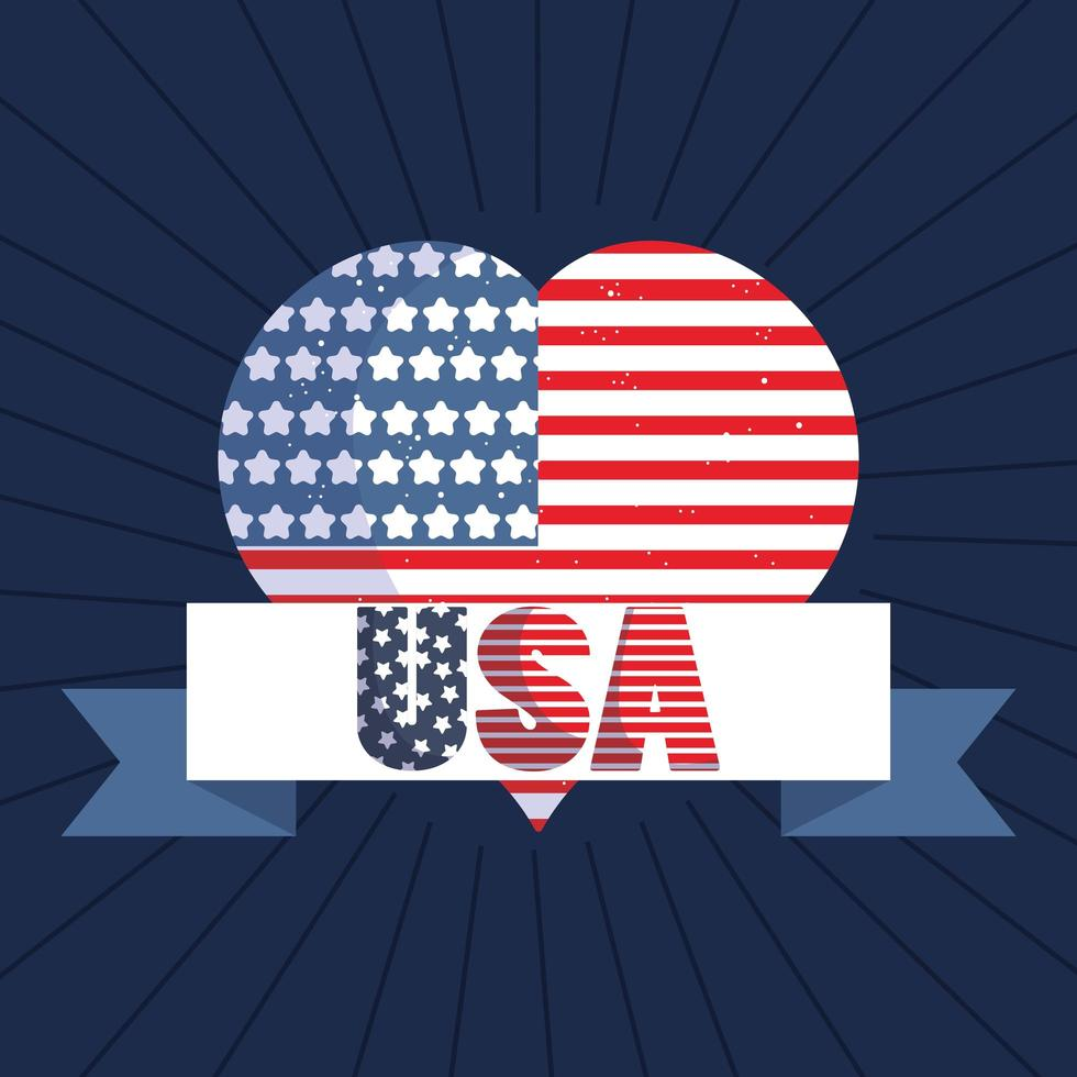 bandera de estados unidos en forma de corazón con cinta americana vector