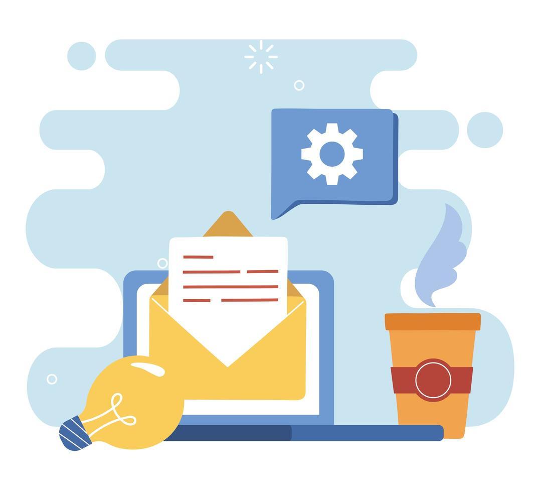 Digital communication concept via e-mail vector