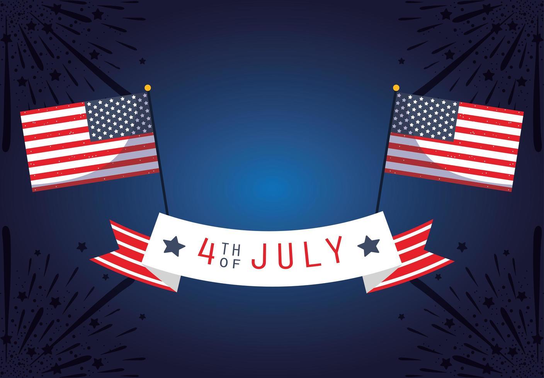 Banner de celebración del 4 de julio con fuegos artificiales y banderas. vector