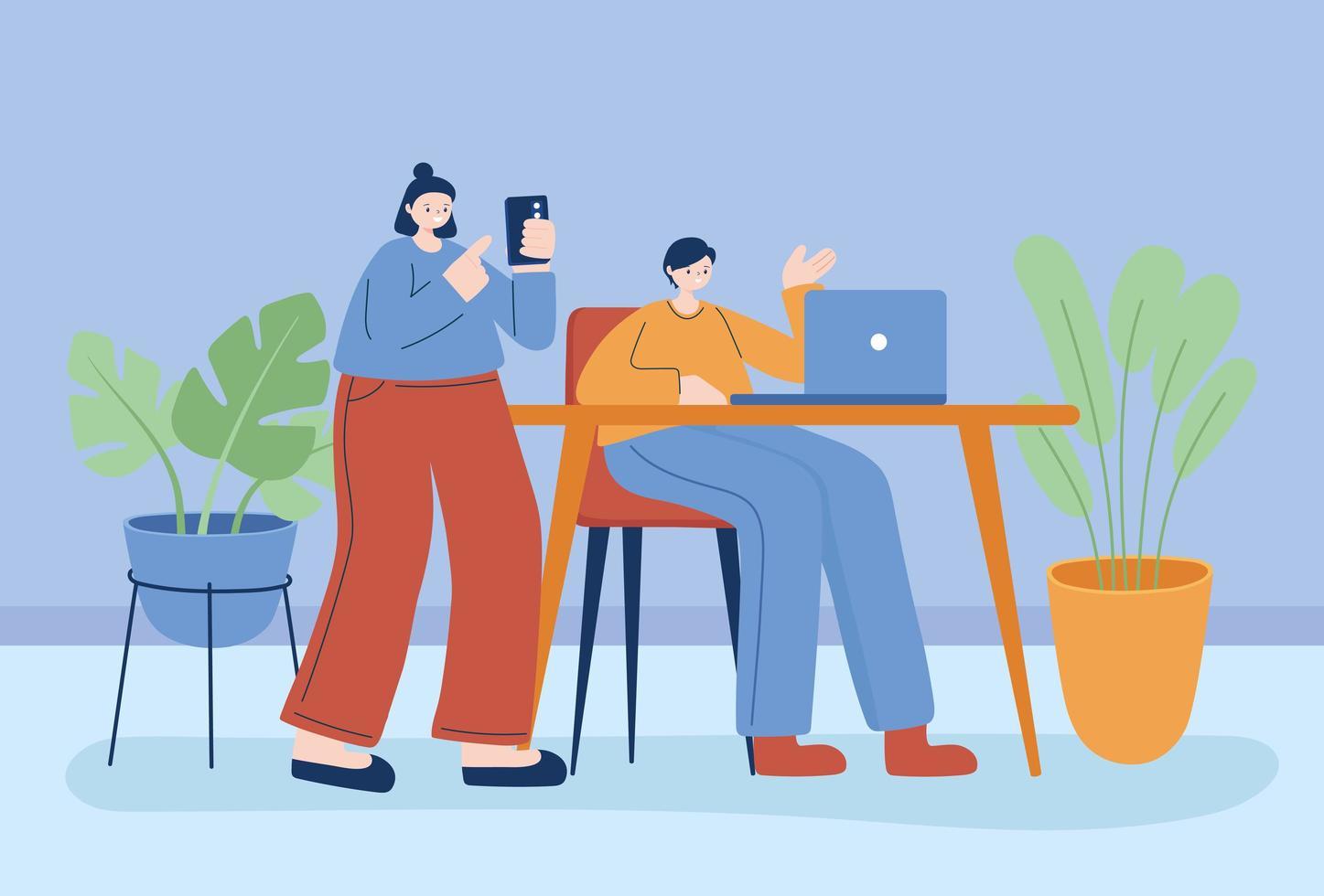 jóvenes trabajando en sus dispositivos electrónicos. vector