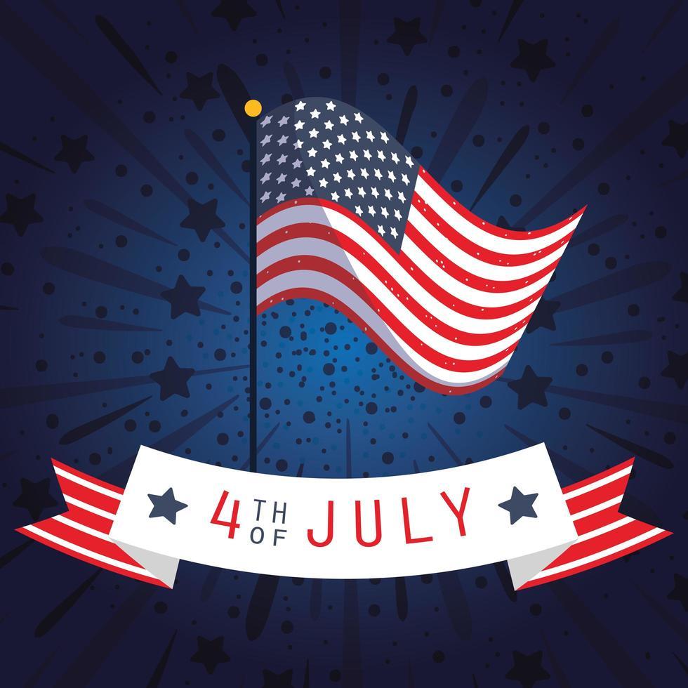 Banner de celebración del 4 de julio con fuegos artificiales y bandera. vector