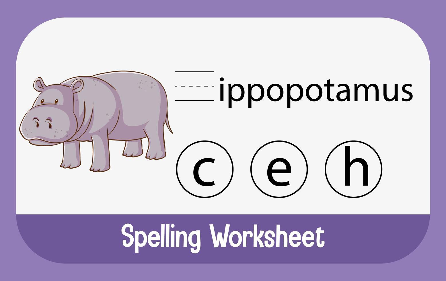 encontrar letra faltante con hipopótamo vector