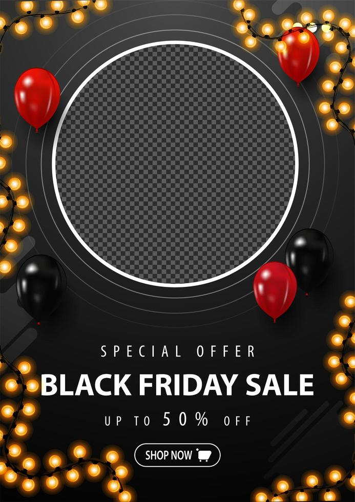 Black Friday Sale, black vertical discount banner vector