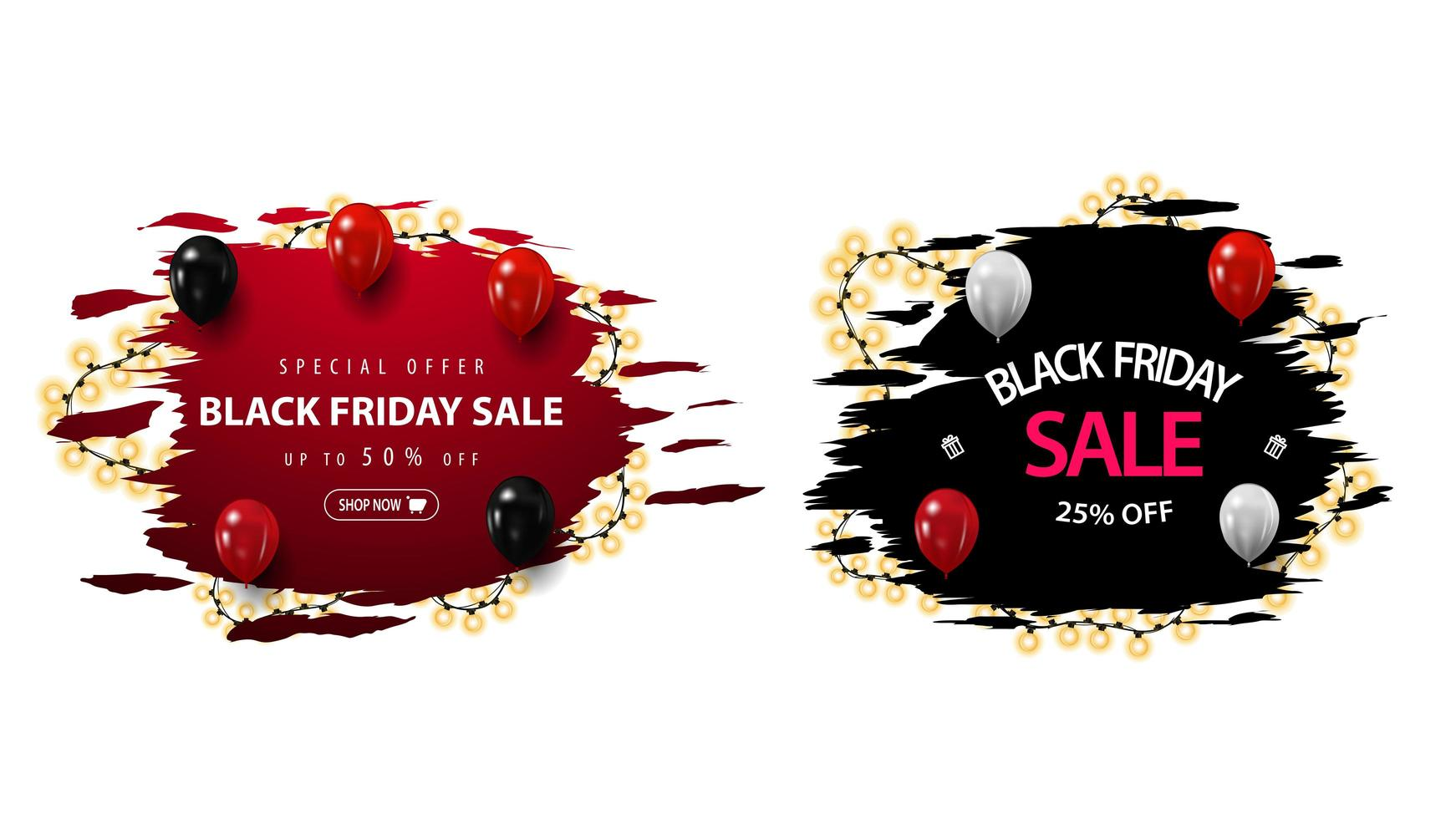 Set of Black Friday discount banners vector