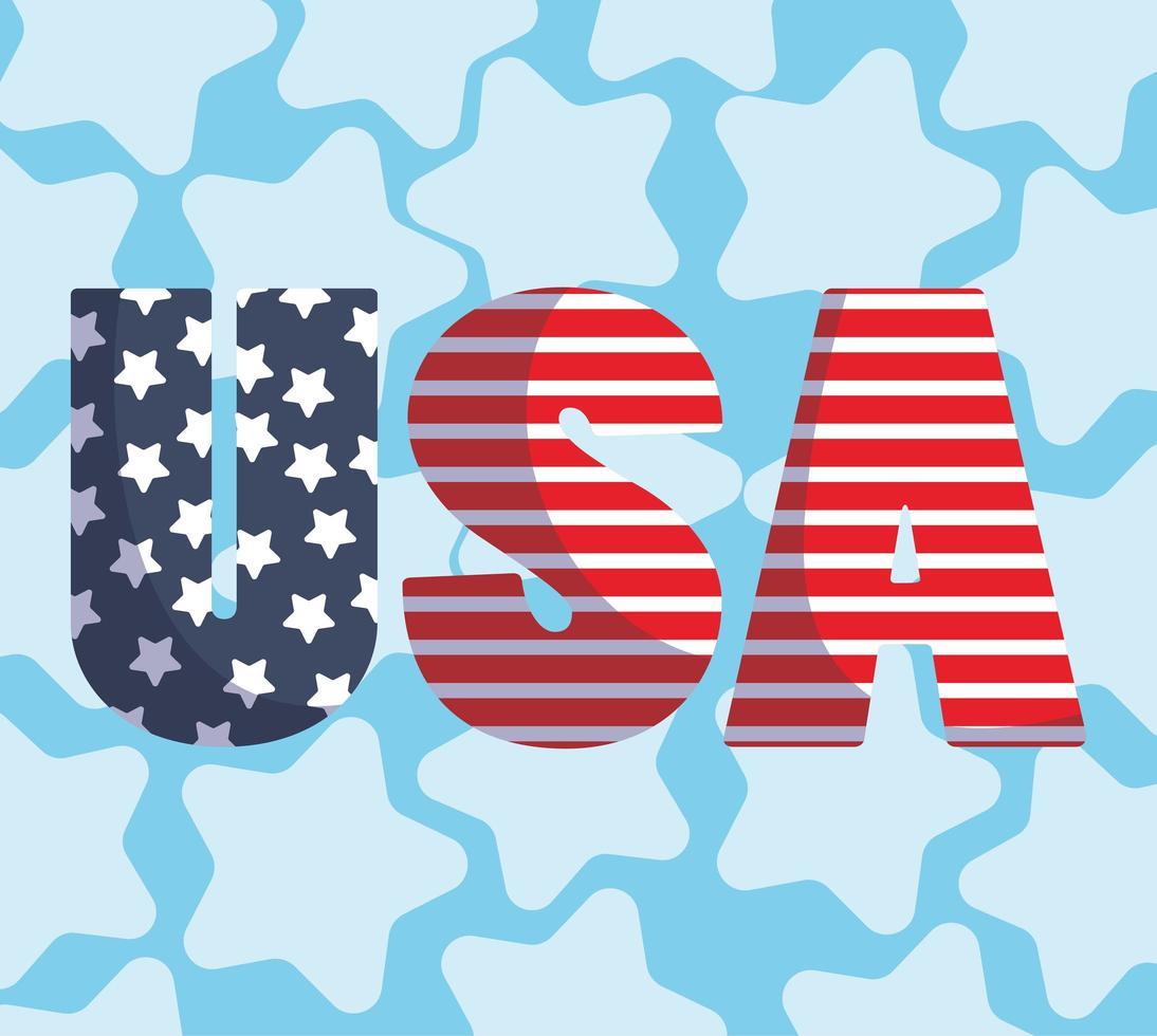bandera festiva de estados unidos con letras vector