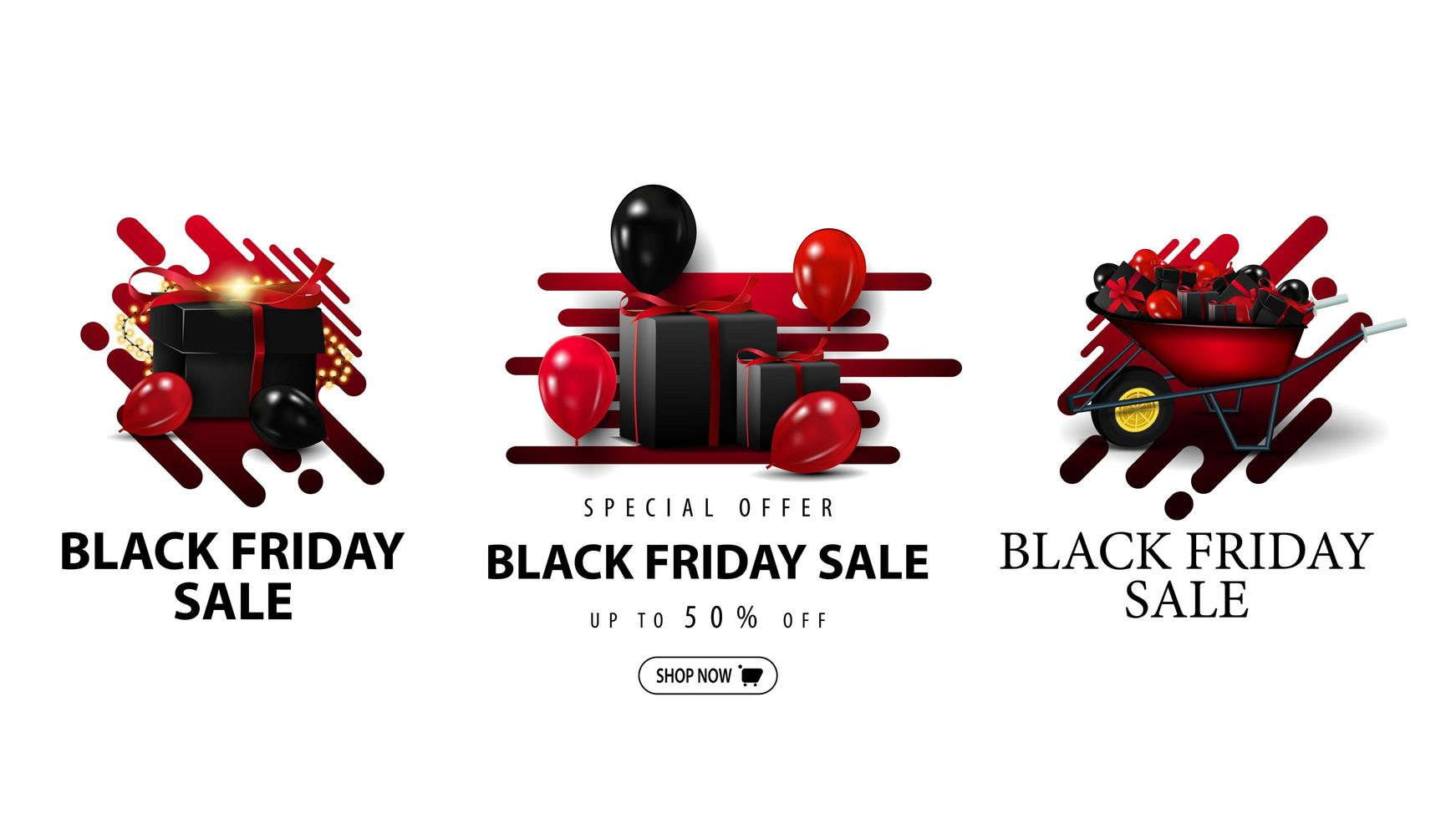Black Friday Sale, set of discount coupons vector