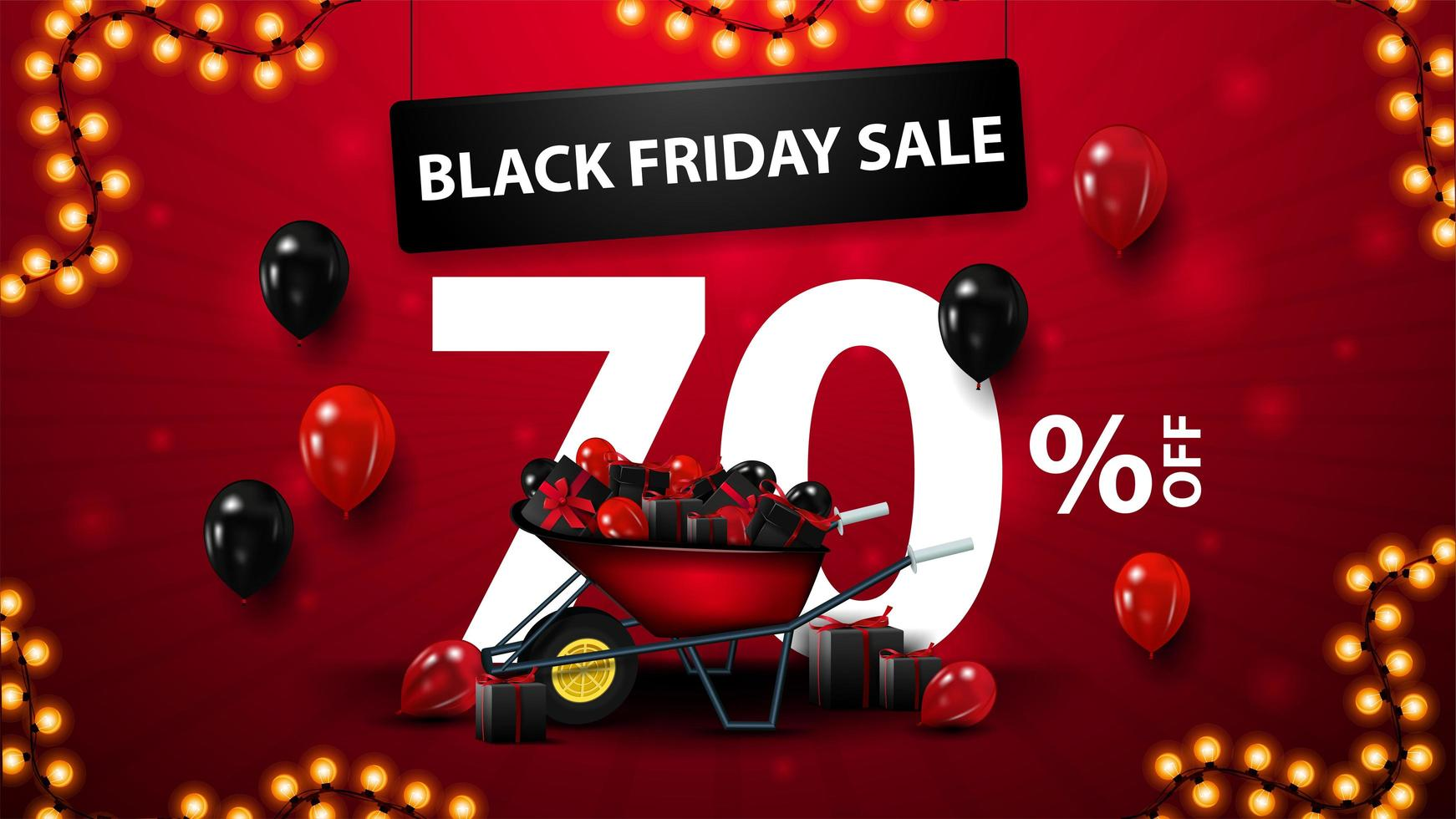 Black Friday Sale, up to 70 off banner vector
