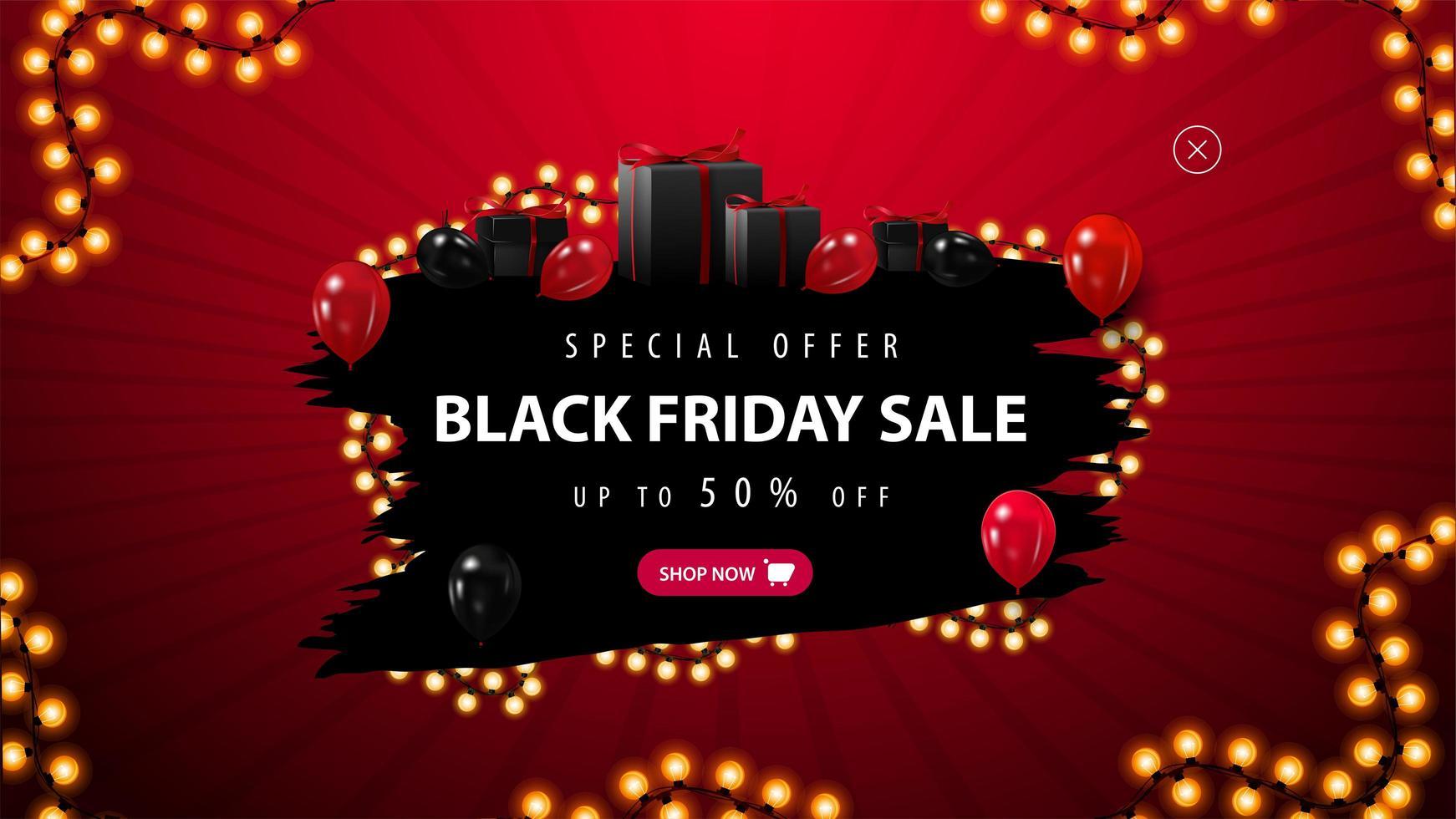 Oferta especial de viernes negro, banner rojo y negro. vector