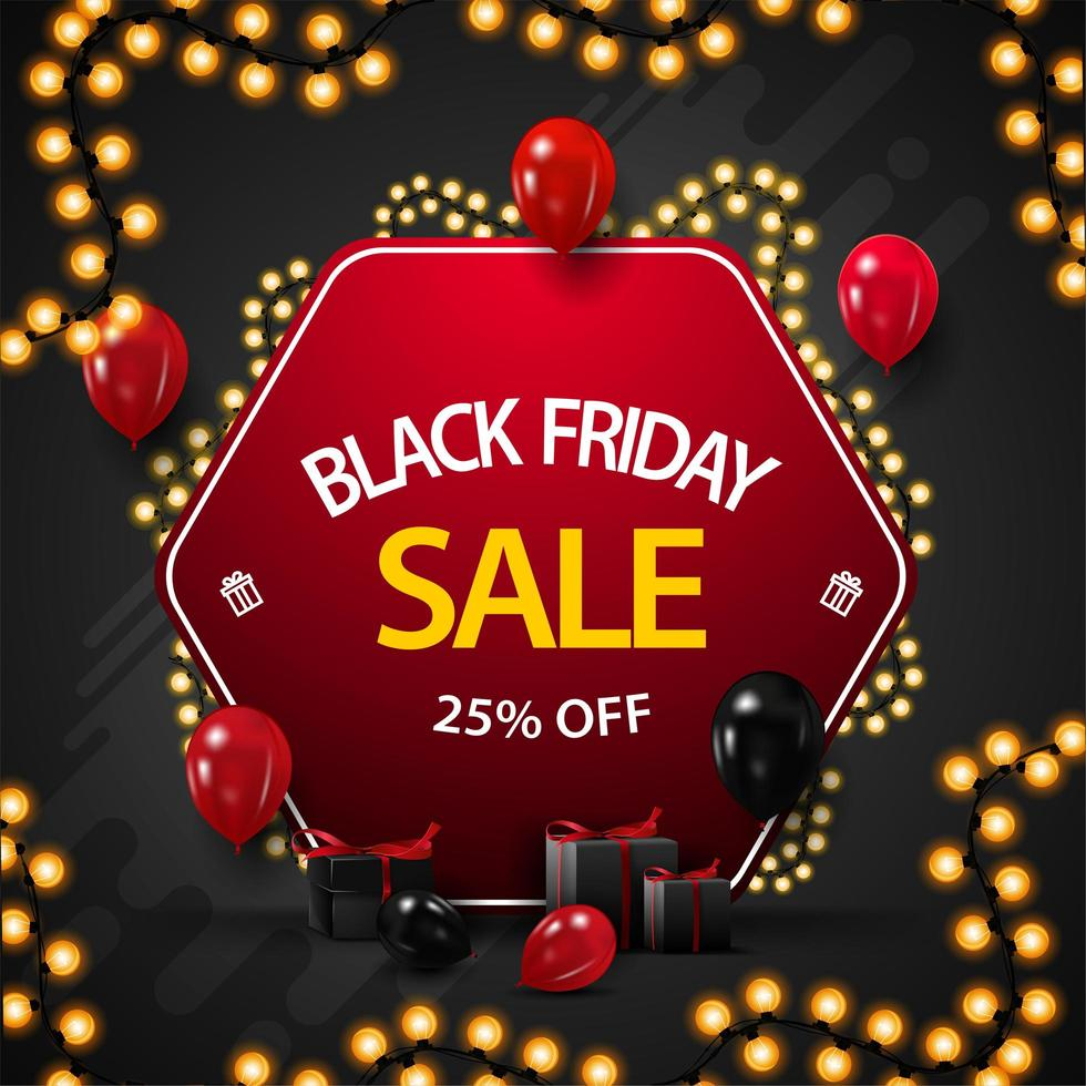 Black Friday Sale, up to 25 off banner vector