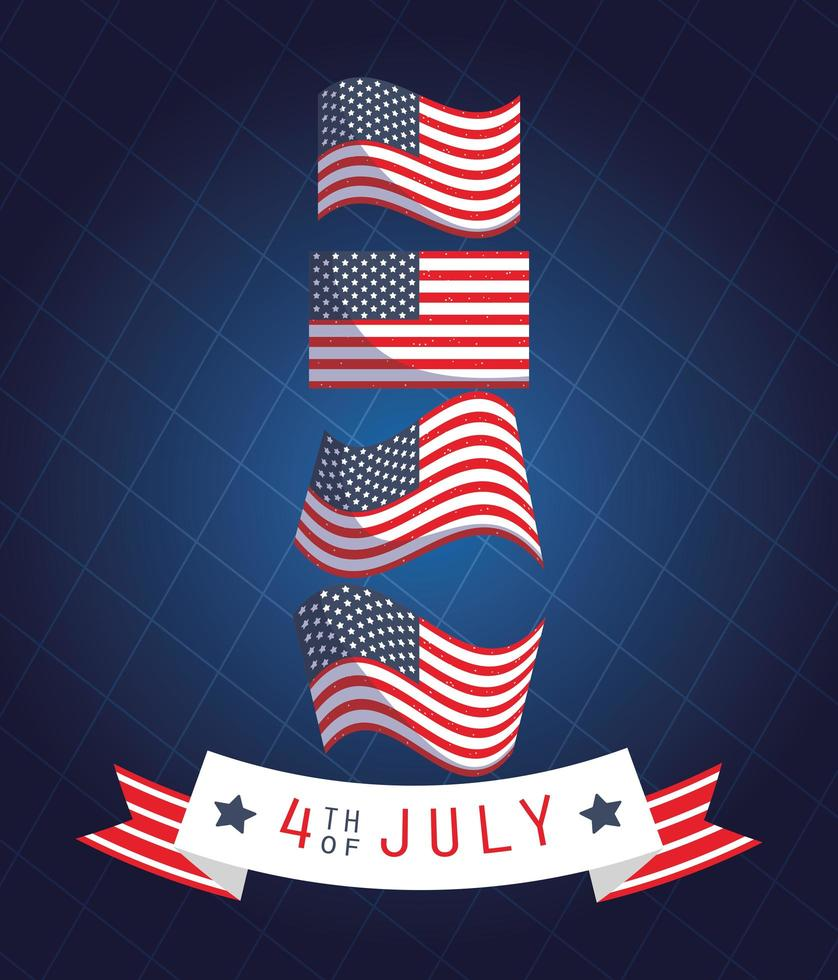 Banner de celebración del 4 de julio con banderas americanas vector