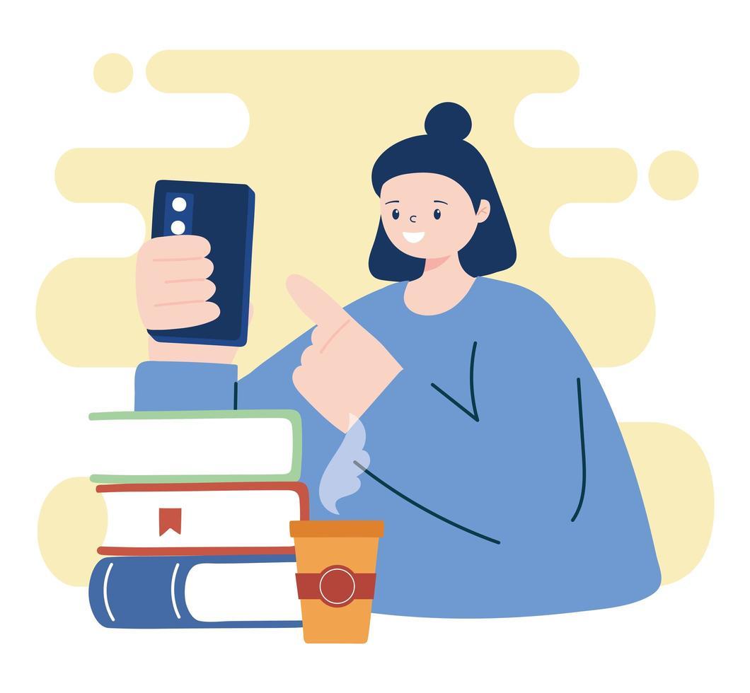 mujer joven, con, smartphone, y, libros vector