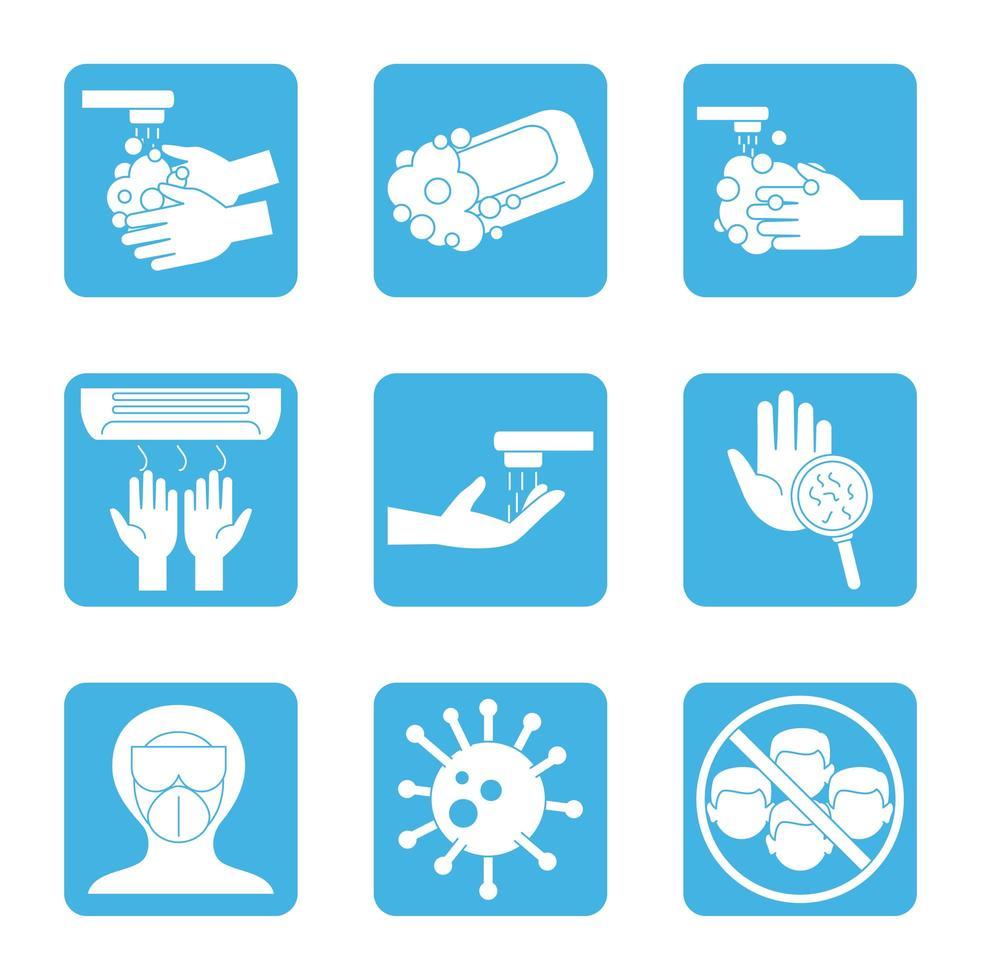 Coronavirus prevention icon set vector