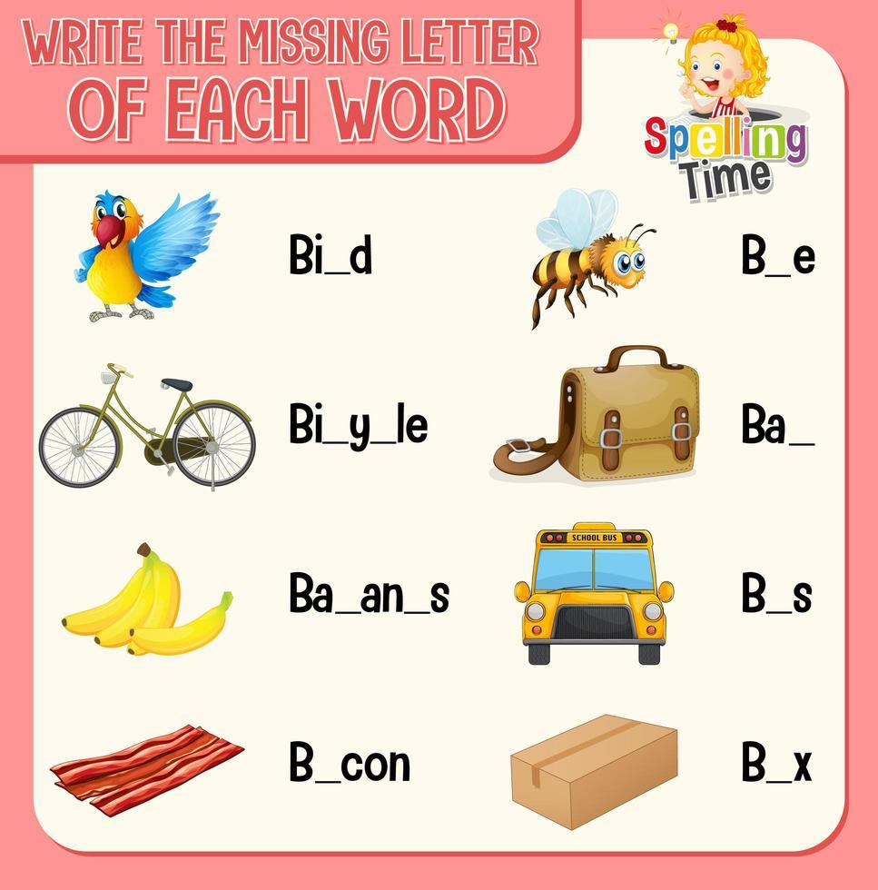 llene la letra que falta en cada hoja de trabajo de palabras para niños vector