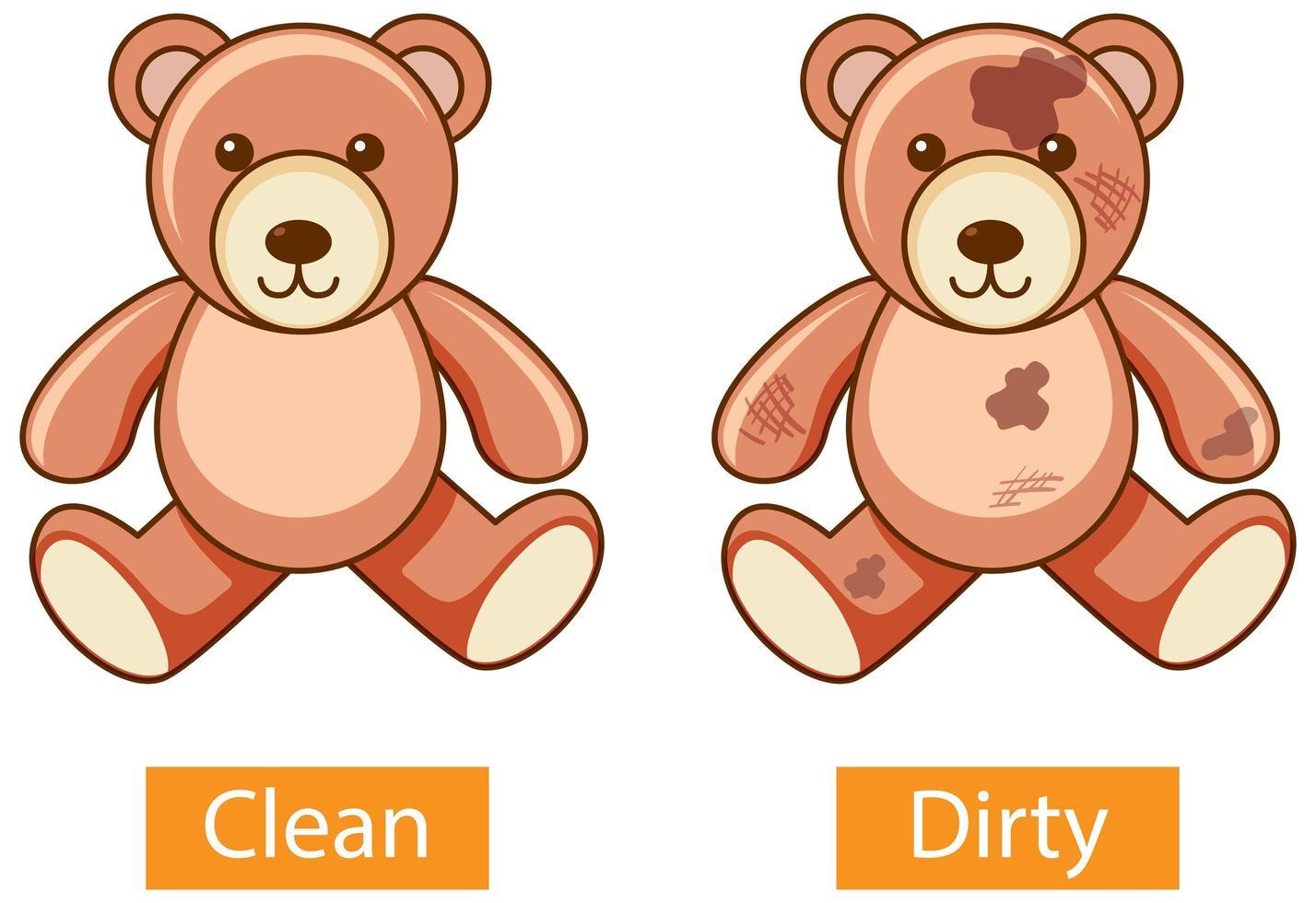 adjetivos opuestos palabras con limpio y sucio vector