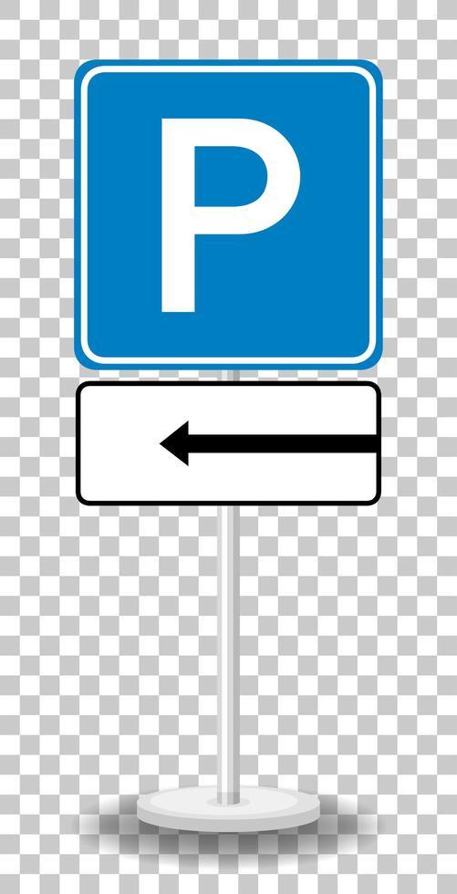 Señal de estacionamiento de flecha izquierda con soporte aislado sobre fondo transparente vector