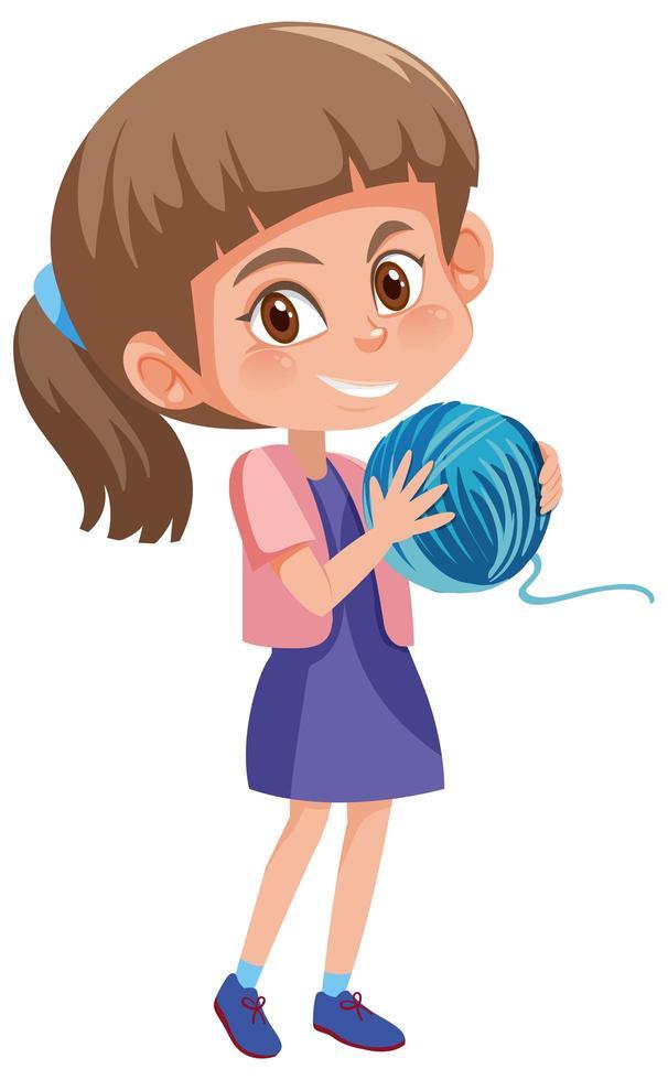 Chica sosteniendo bola de hilo personaje de dibujos animados aislado sobre fondo blanco. vector
