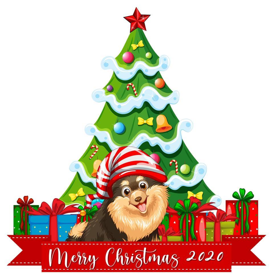 Feliz Navidad 2020 banner de fuente con lindo perro chihuahua sobre fondo blanco. vector