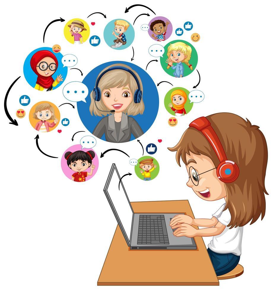 Vista lateral de una niña usando una computadora portátil para comunicarse por videoconferencia con el maestro y amigos sobre fondo blanco. vector