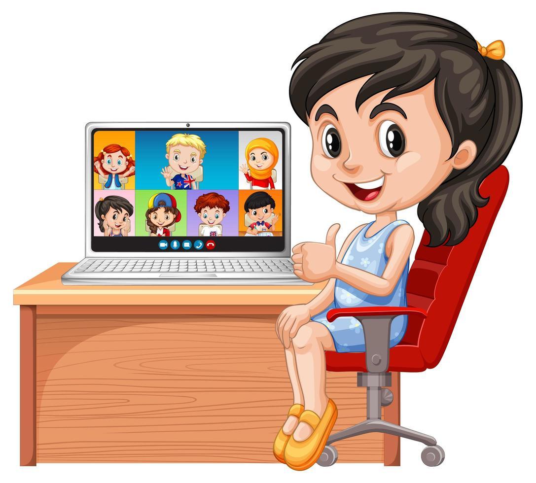una chica de video chat con amigos sobre fondo blanco vector