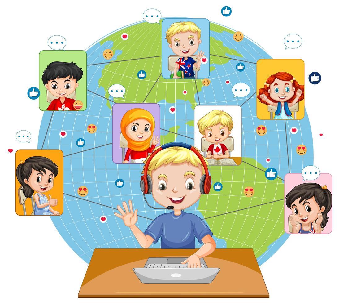 Vista frontal de un niño usando una computadora portátil para comunicarse por videoconferencia con amigos sobre fondo blanco. vector
