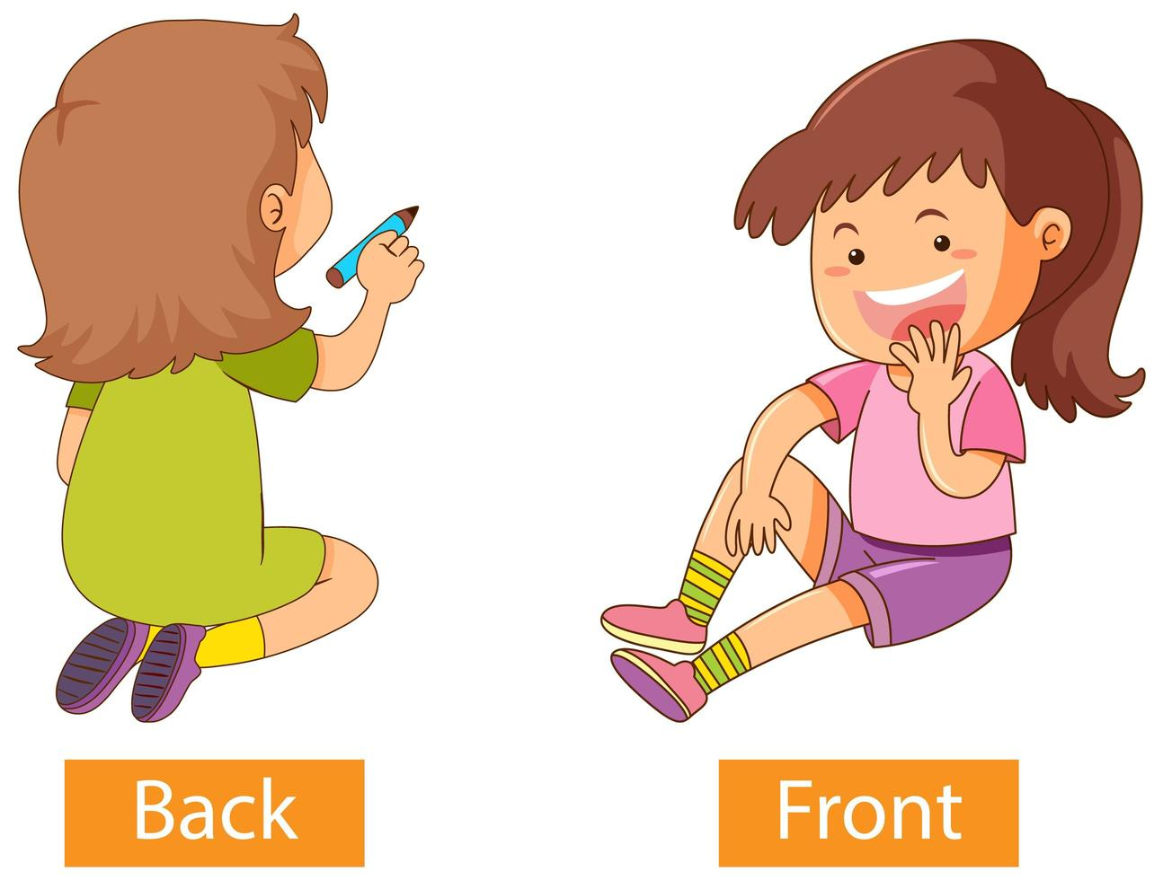 Opposite preposition words with back and front vector
