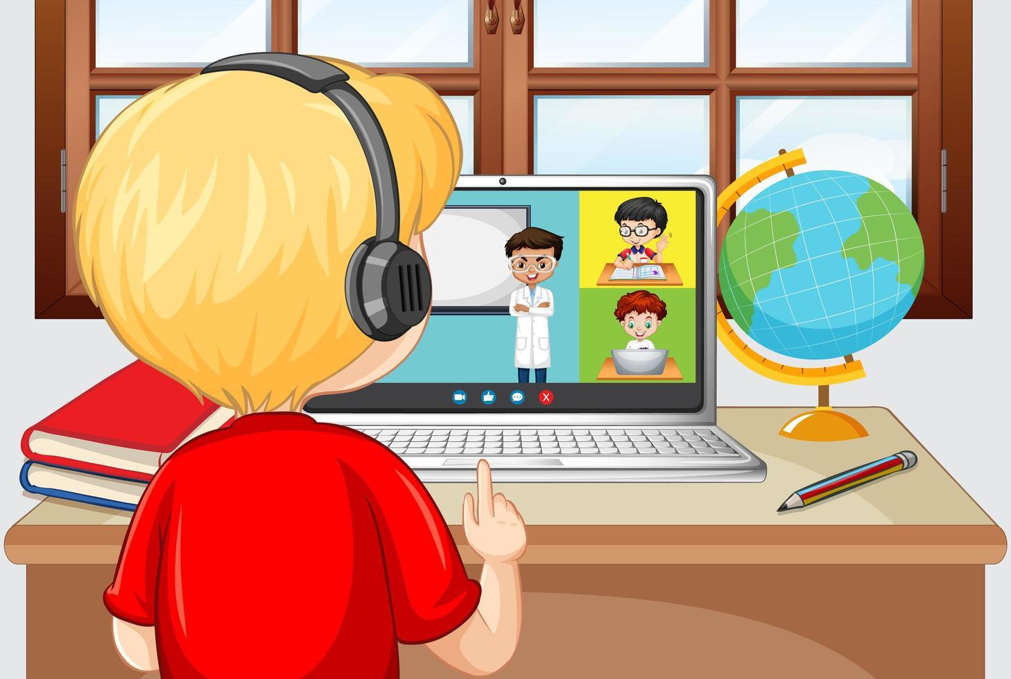 Vista posterior de un niño comunicarse por videoconferencia con amigos en la escena de la casa vector