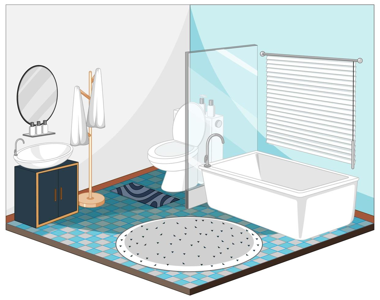 Bathroom interior with furniture in blue theme vector