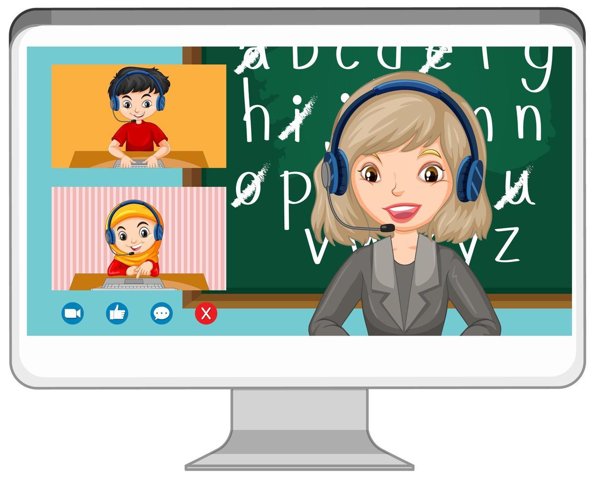 Estudiante de video chat en línea en la pantalla de la computadora sobre fondo blanco. vector
