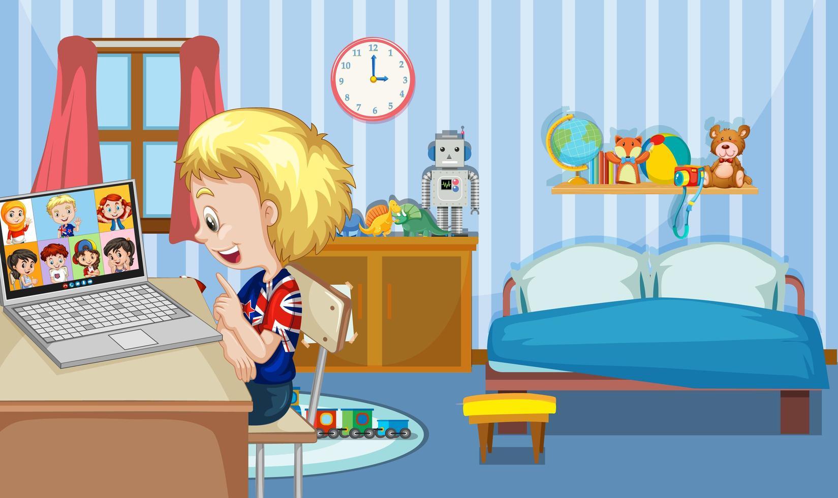 un niño se comunica por videoconferencia con amigos en la escena del dormitorio vector