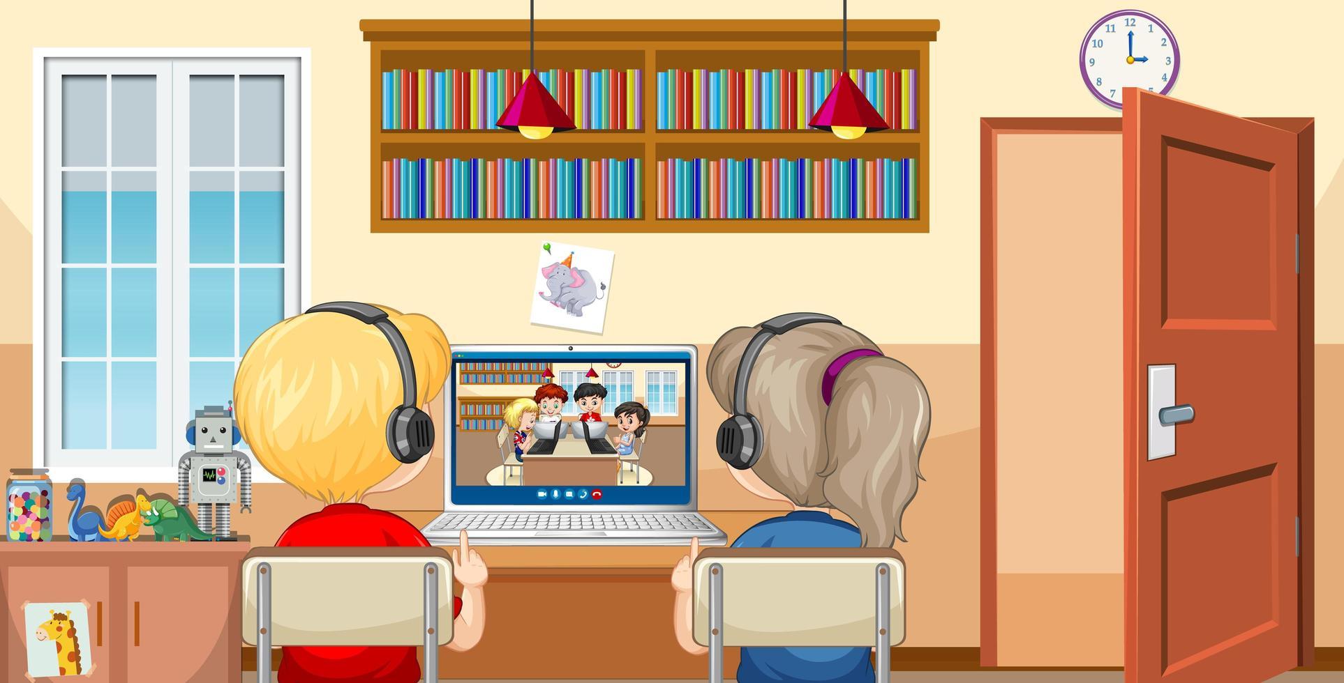 Vista posterior de una pareja de niños comunicarse por videoconferencia con amigos en la escena de casa vector