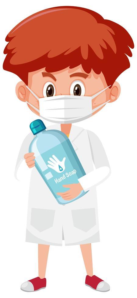 Niño en traje de médico sosteniendo jabón de manos objetos aislado sobre fondo blanco. vector