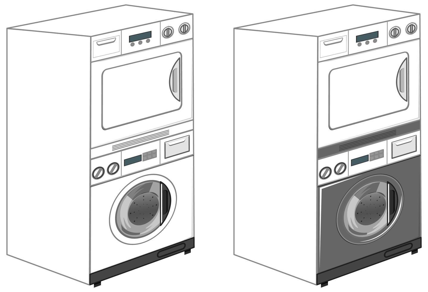 lavadoras aisladas sobre fondo blanco vector