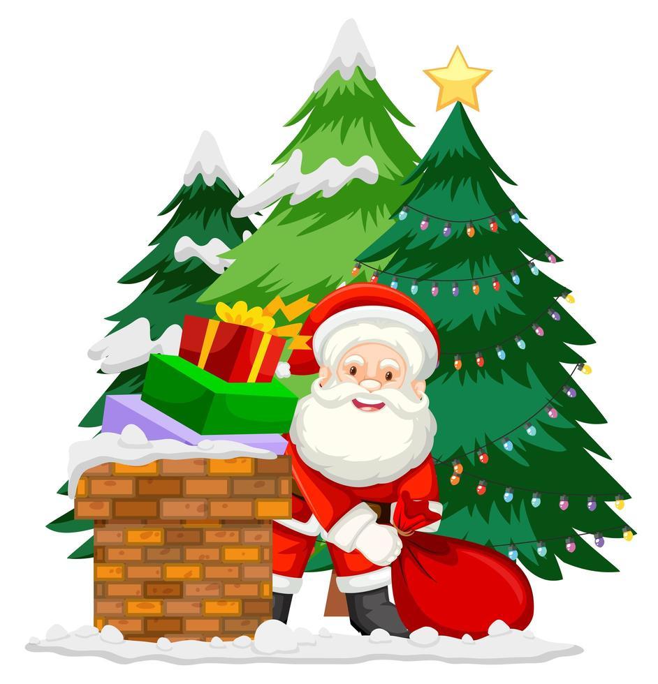 santa claus poniendo los regalos en la chimenea vector
