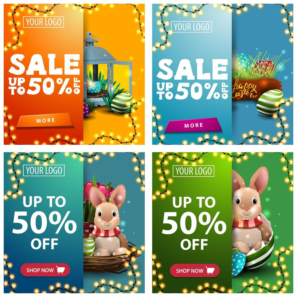 Collection of discount banners with Easter icons vector