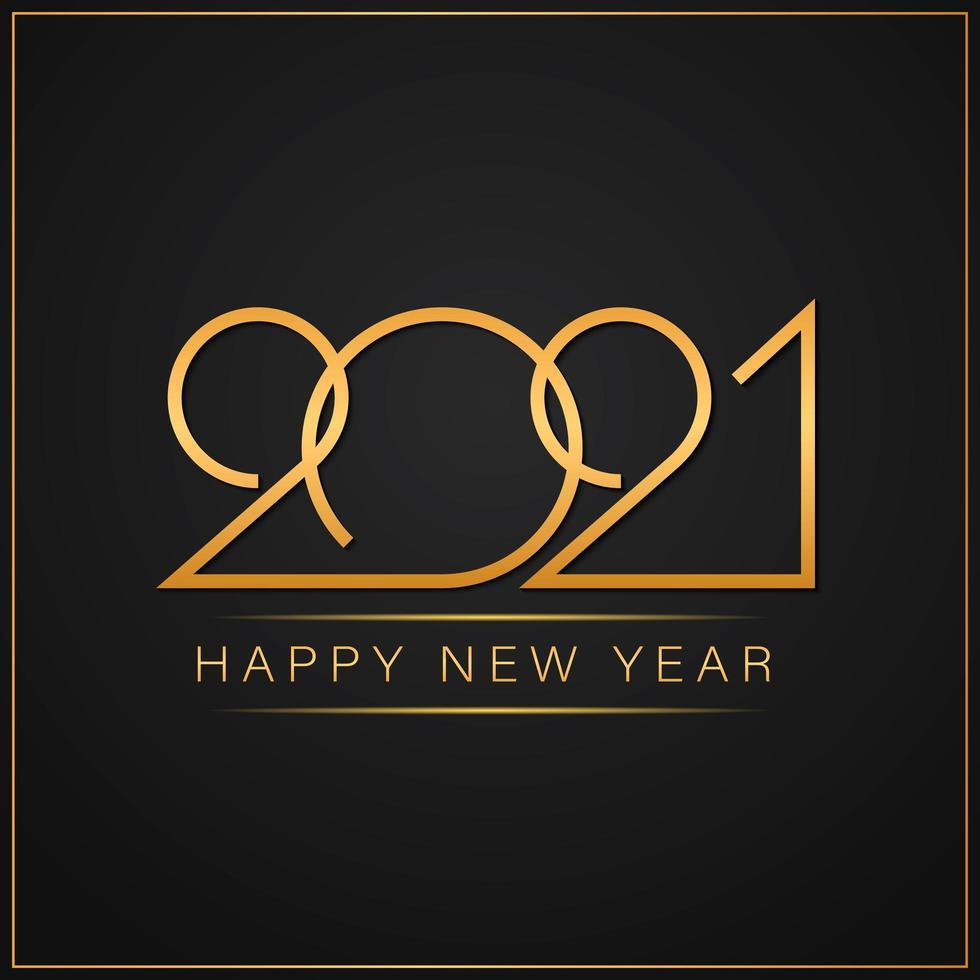 feliz año nuevo 2021 elegante texto dorado con luz vector
